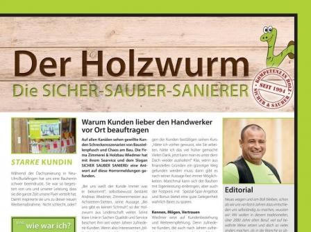 """1. Ausgabe unserer neuen Kundenzeitschrift """"Holzwurm"""" ist erschienen"""