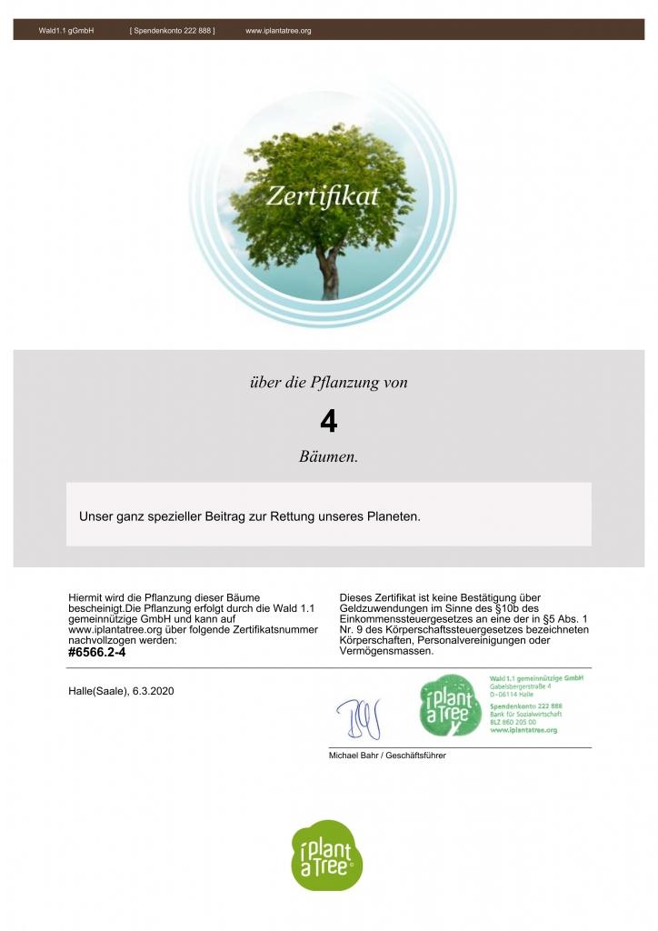 Zertifikat für die Baumpflanzungen der Zimmerei Wiedmer aus Achstetten
