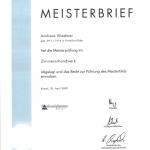 Geschafft! Meisterbrief Andreas Wiedmer